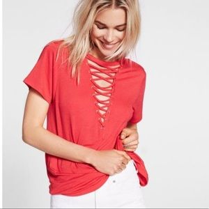 Express Lace Up Front GirlfriendTee Shirt